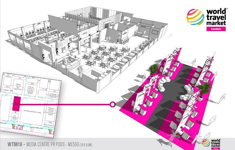 Impression of the new WTM Agency Pavilion near the WTM International Media Centre.