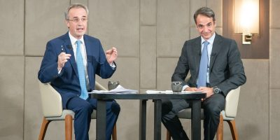 New Democracy party leader Kyriakos Mitsotakis (right) during the 26th general assembly of the Greek Tourism Confederation (SETE).