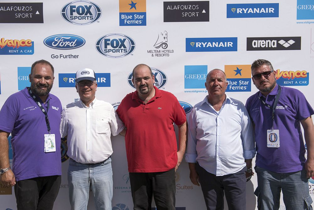 Federal Technical Coach of Swimming, Nikos Gemelos; Mayor of Santorini, Anastasios Nikolaos Zorzos; President of Santorini Boatmen Union, Gerasimos Kanakaris; President of D.A.P.P.O.S., Eleftherios Tzouros; and Chief Executive Officer of Active Media Group, Akis Tsolis. Photo by Vangelis Patsialos