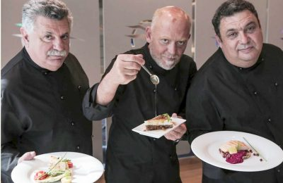 Chefs Lefteris Lazarou, Christoforos Peskias and Stelios Parliaros. Photo: Mara Desipris