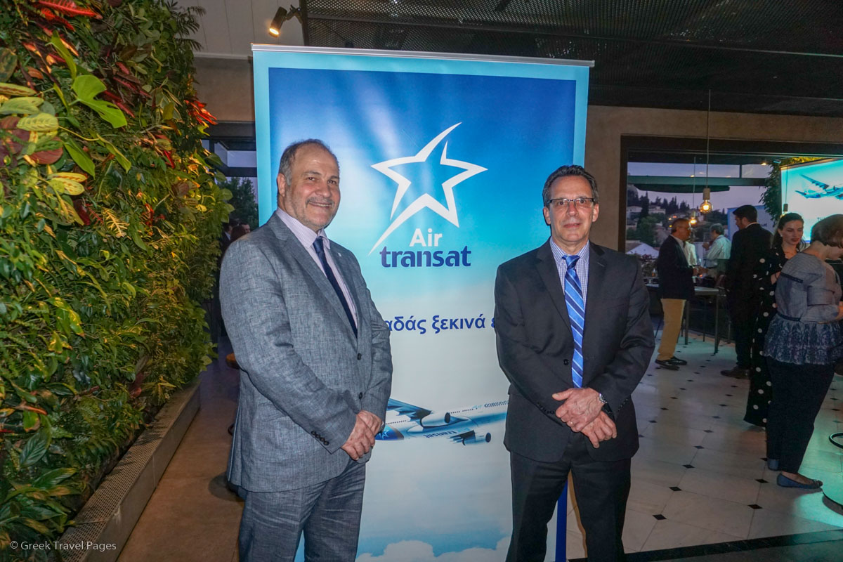 Michael Flerianos, Gold Star Aviation General Manager and Gilles Martin, Air Transat Director Sales and Distribution.