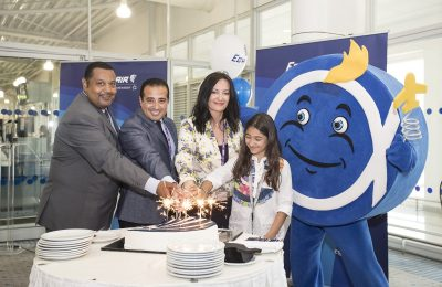 Egyptair Station Manager Wael Ekram; the Regional Director for Greece and Cyprus Salah Tawfic and AIA Director of Communications and Marketing Ioanna Papadopoulou cut the company's birthday cake. (AIA)