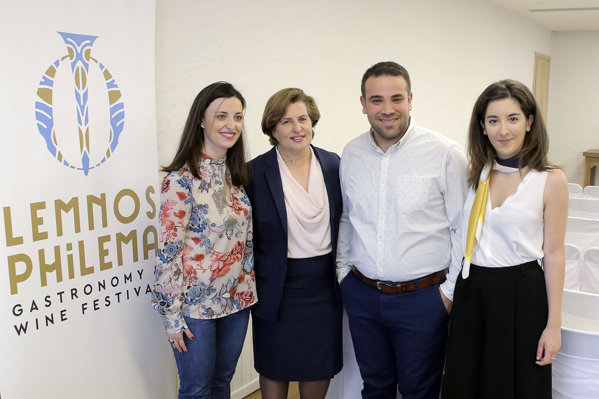 Eleftheria Konstantara (Lemnos Wine Trails), North Aegean Governor Christiana Kalogirou, Alexandros Alexandrou (Taste Lemnos) and Antheia Kotsi (Apothiki) during the press event.