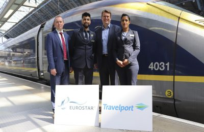 Simon Tyler Head of Sales and Business Improvement at Eurostar International; Kamal Abbasi (Eurostar); Derek Sharp Senior Vice Present and Managing Director of Air Commerce at Travelport; Karima Bennour On Board Agent at Eurostar.