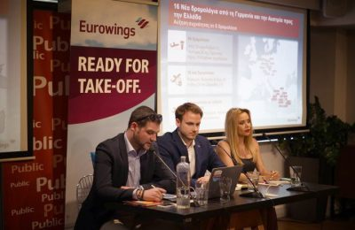 Eurowings senior manager network development Ivan Orec; senior regional manager Markus Leopold and PR Connection director international media relations Stella Ouroumi.