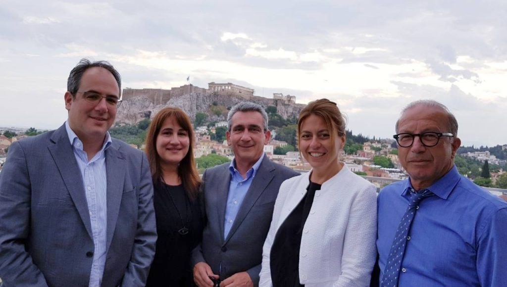 George Vilos (Fraport Greece Executive Director Commercial & Business Development), Marietta Papavassiliou (South Aegean Deputy Governor for tourism), George Hadjimarkos (Governor of South Aegean Region), Katerina Pollatou (Fraport Greece Airline Marketing & Development Director) and George Leontaritis (Deputy Regional Governor of the Cyclades). Photo source: Region of South Aegean