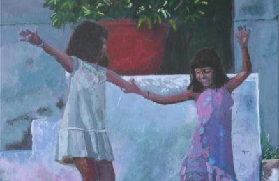 Two Girls Dancing Acrylic on canvas; © 2016 Roger Fox