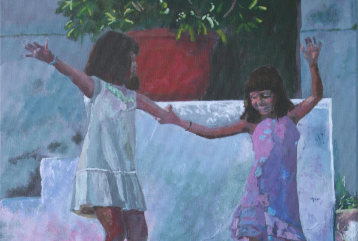 Two Girls Dancing, acrylic on canvas. © 2016 Roger Fox