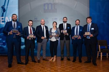 Marine Tours CEO Konstantinos Oikonomou with the conference's speakers and moderators Panos G. Moraitakis, Dr Evangelos Tsioumas, Dr Maria Progoulaki, Giorgos M. Teriakidis, Yiannis G. Timagenis and Giorgos Ksiradakis.
