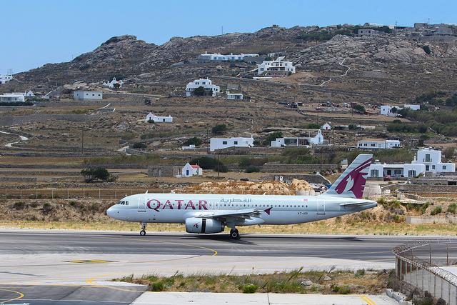 Qatar Airways at the airport of Mykonos.