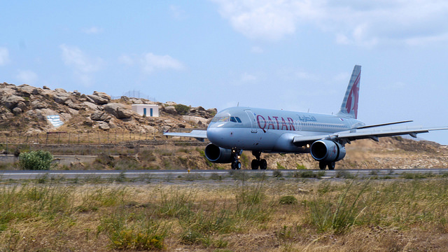 Qatar Airways Airbus A320 on Mykonos runway.