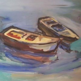 Boats II, 2016, oil on canvas by Stavros Diakoumis