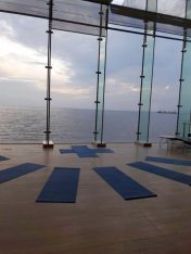 Yoga session at the Thessaloniki Concert Hall.