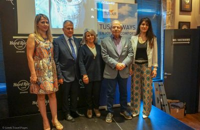 Discover the World Greece & Cyprus Sales Support Vicky Spyropoulou, TUS Commercial Manager Yaron Eskeles, TUS Manager Distribution Elena Tati, Discover the World Greece & Cyprus Managing Director Dinos Frantzeskakis and Cyprus Tourism Organization Marketing Manager for Athens Ioanna Hadjicosti.