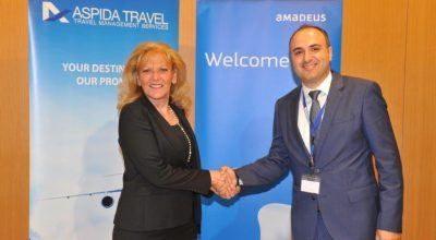 Eva Karamanou, General Manager Greece and Cyprus and Deputy Regional Manager for Southern Europe at Amadeus and Aspida Travel Managing Director Dimitris Matthaios.