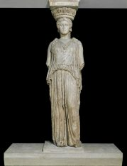 Pentelic marble caryatid from the Erechtheion. Photo Source: British Museum/© The Trustees of the British Museum