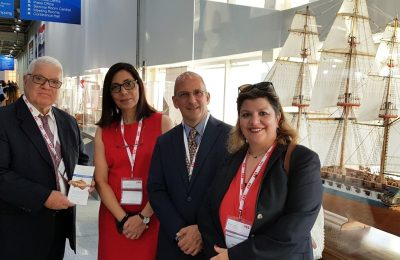 Mechanical engineer Dimitris Maras; PAN Art Connections Head of Communications Maria Faida; PAN Art Co-founder Nikolaos Kontoprias; Celestyal Cruises public relations manager Froso Zaroulea.
