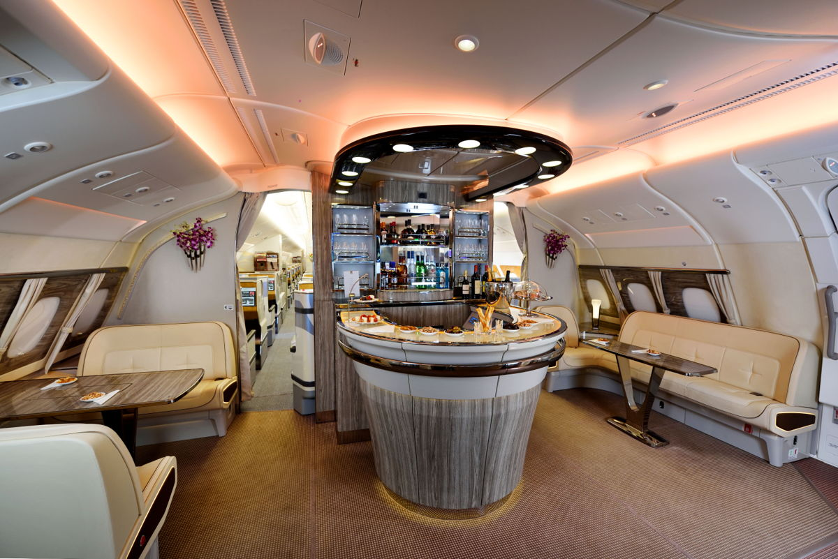 Emirates A380 Onboard Lounge.