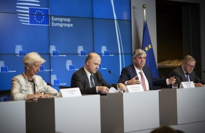 Christine Lagarde, Managing Director of the IMF; Pierre Moscovici, European Commissioner for Economic and Financial Affairs, Taxation and Customs; Mario Centeno, President of the Eurogroup; and Klaus Regling, European Stability Mechanism Managing Director. Copyright: European Union
