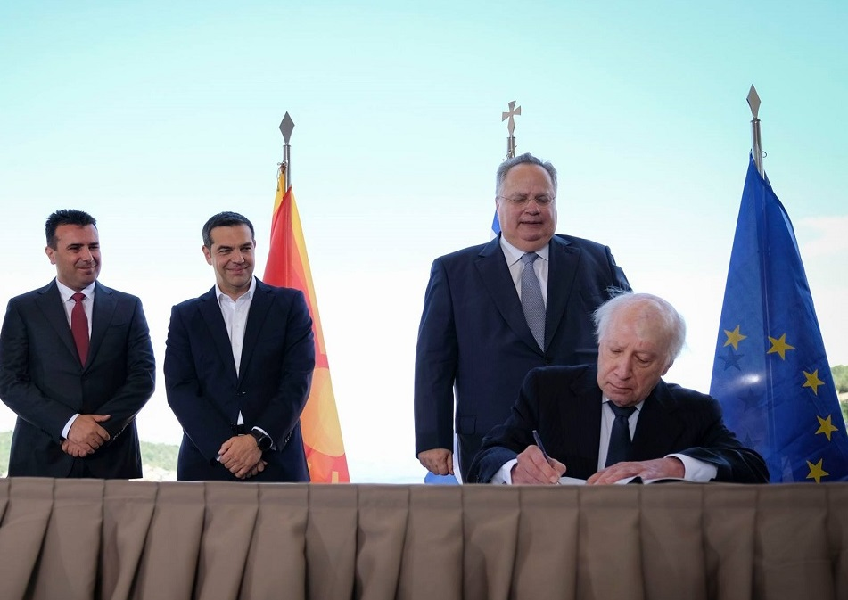 Greek Prime Minister Alexis Tsipras; FYROM Prime Minister Zoran Zaev; Greek Foreign Affairs Minister Nikos Kotzias; Special Representative of the United Nations for the FYROM name issue, Matthew Nimitz.
