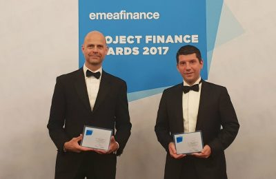 Fraport Greece's CEO Alexander Zinell and CFO Vangelis Baltas at the award event in London.