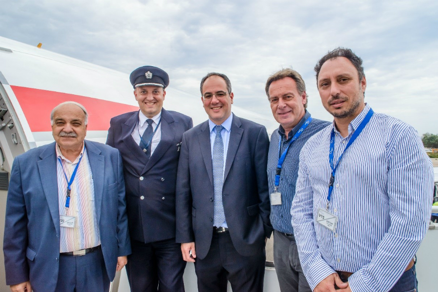 Arrival of British Airways' London-Kefalonia flight. Pictured are Ionian Island Vice Governor for Tourism Spyros Galiatsatos, Fraport Greece General Director for Development George Vilos, Kefalonia Vice Mayor Evaggelos Kekatos, Kefalonia Hoteliers Association President Gerasimos Timotheatos, with the captain of British Airways.