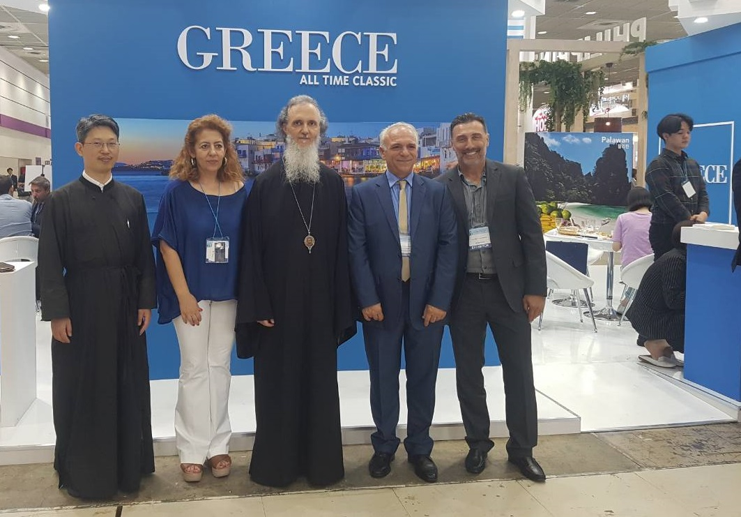 Father Ioannis from the Holy Metropolis of St. Nicholas; Ekaterini Meimaroglou from GNTO's market research and advertising department, Metropolitan Amvrosios of Korea; GNTO executives Michalis Michailidis and Michalis Alfaras.