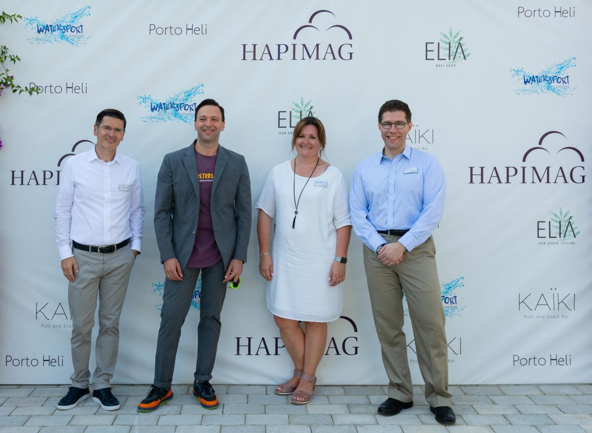 Hapimag's Manuel Carrasco, chief hospitality officer; Hassan Kadbi, CEO; Veronique Tronczyk, Head of Resort Operation Services; and Martin Roten, Chief Real Estate Officer.