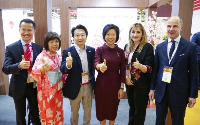 ITB Asia 2017: Lionel Yeo, CEO of Singapore Tourism Board; Susan Maria Ong, MICE Director Asia Pacific, Japan National Tourism Organization; Masatoshi Miyake, Executive Director Singapore, Japan National Tourism Organization; Ms Sim Ann, Senior Minister of State, Ministry of Culture, Community and Youth & Ministry of Trade and Industry; Mrs Gloria Guevara, President and CEO of World Travel & Tourism Council; Dr Christian Goke, CEO of Messe Berlin.