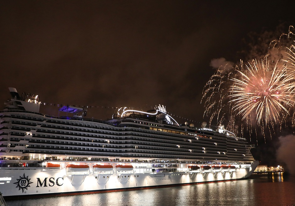 Fireworks erupt over Genoa as the MSC Seaview is officially named.