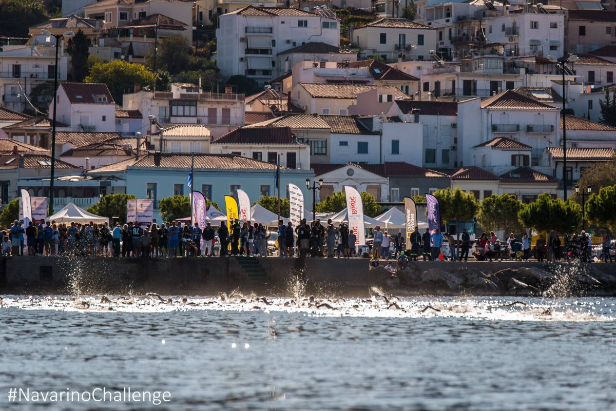 One-mile open water swimming race at Navarino Challenge at Navarino Bay, at the port of Pylos. Photo by Elias Lefas.