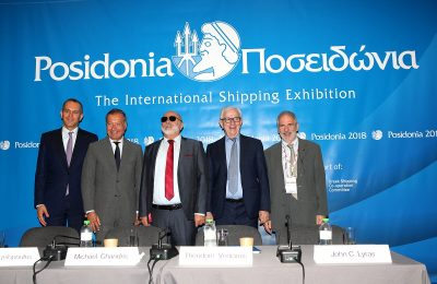 UGS vice president George Angelopoulos; UGS member Michael Chandris, Greek Shipping Minister Panagiotis Kouroublis; UGS president Theodore Veniamis and member John C. Lyras.