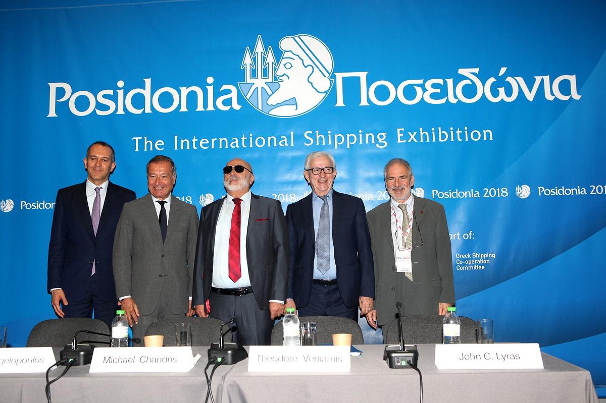 UGS vice president George Angelopoulos;  UGS member Michael Chandris, Greek Shipping Minister Panagiotis Kouroublis; UGS president Theodore Veniamis and member John C. Lyras.