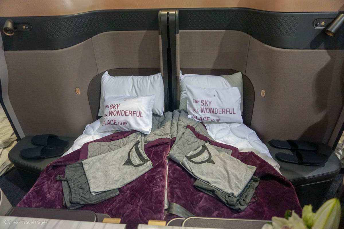 Qatar Airways' Qsuite Business Class Seat at Posidonia 2018.