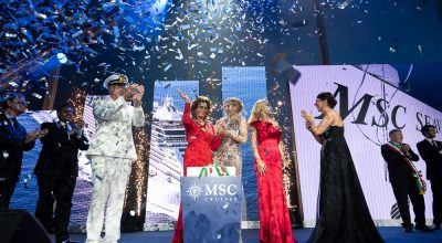 Captain Pier Paolo Scala and Sophia Loren Cut the Ribbon to Officially Inaugurate MSC Seaview.
