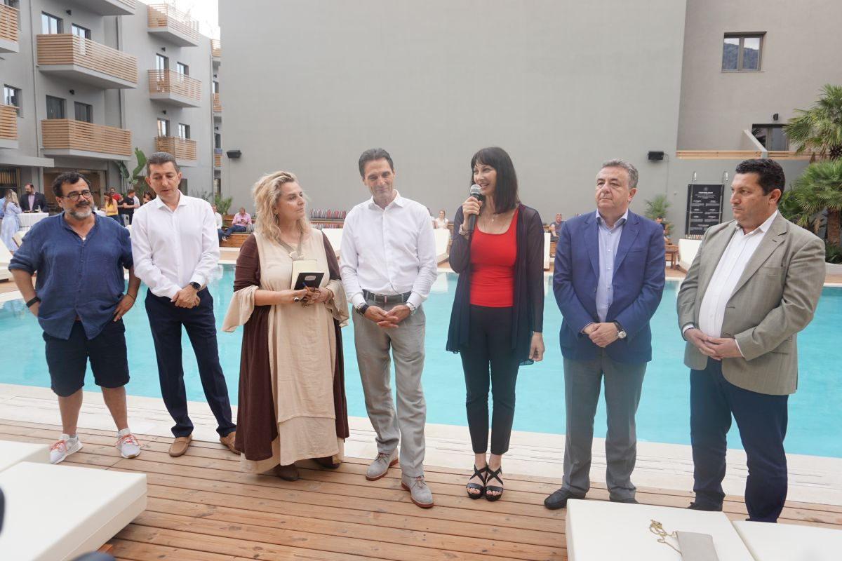 Greek Tourism Minister Elena Kountoura during the event for the opening of the Cook's Club hotel. Photo: GTP