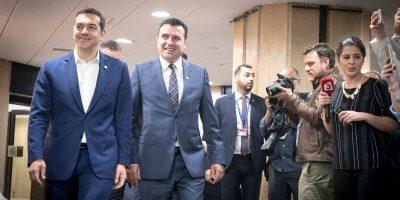 Greek Prime Minister Alexis Tsipras and his counterpart in Skopje, Zoran Zaev. Photo Source: @Alexis Tsipras