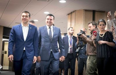 Greek Prime Minister Alexis Tsipras and his counterpart in Skopje, Zoran Zaev. Photo Source: @Alexis Tsipras