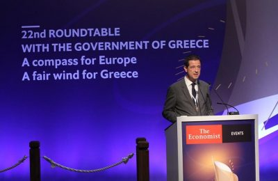 Secretary General for Tourism Policy and Development George Tziallas. Photo Source: @The Economist Events for Greece, Malta, Cyprus and southeast Europe.