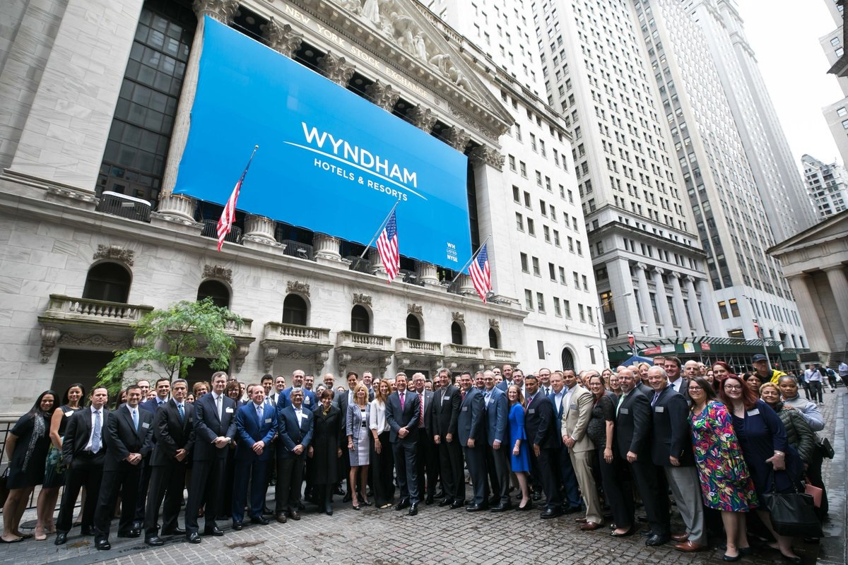 The Wyndham Hotels & Resorts team at NYSE in New York, celebrating the completion of the company's spin-off from Wyndham Worldwide Corporation. Photo Source: @Wyndham Hotels & Resorts