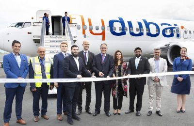 Ribbon cutting ceremony by representatives of flydubai, Emirates and APG Hellas (flydubai GSA in Greece).
