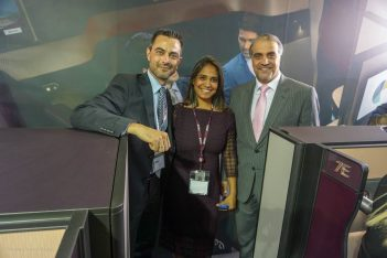 Qatar Airways Country Manager for Greece & Cyprus Theresa Cissell with Qatar's Ambassador to Greece Abdulaziz Ali Al Naama (R) and GTP Headlines Managing Editor Nikos Krinis.