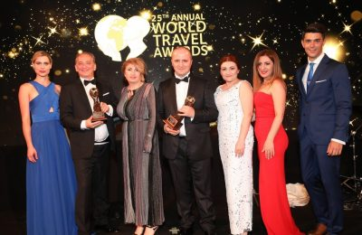 The Beleon Tours team during the 25th World Travel Awards Europe Gala ceremony.