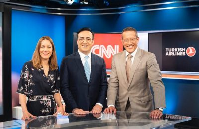 Cathy Ibal, Vice President, CNN International Commercial; Ilker Aycı, Turkish Airlines Chairman of the Board and the Executive Committee and Richard Quest.