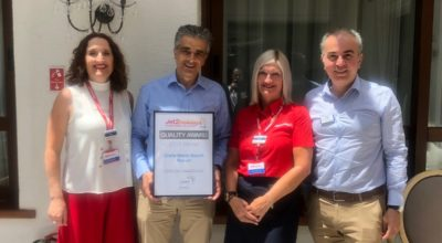Louisa Tsikouthe, Resort Manager Jet2Holidays for the region of Heraklion; Nikos Vlassiadis, General Manager, Creta Maris Beach Resort; Tracey Lea, Jet2Holidays Island Manager; Michalis Roussakis, Assistant General Manager, Creta Maris Beach Resort.