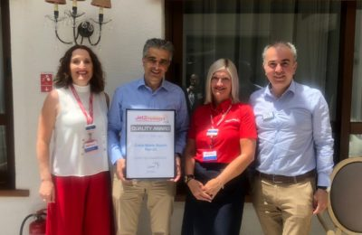 Louisa Tsikouthe , Resort Manager Jet2Holidays for the region of Heraklion; Nikos Vlassiadis, General Manager, Creta Maris Beach Resort; Tracey Lea, Jet2Holidays Island Manager; Michalis Roussakis, Assistant General Manager Creta Maris Beach Resort.
