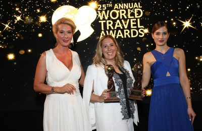 WTA Europe Gala Host Maria Nikoltsiou and Niki Fotiou, Marketing & PR Manager, Divani Collection Hotels.
