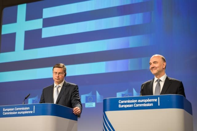 Valdis Dombrovskis, vice-president for the Euro and Social Dialogue and Pierre Moscovici, European Commissioner for Economic and Financial Affairs. Photo Source: European Union , 2018 / Benas Gerdziunas