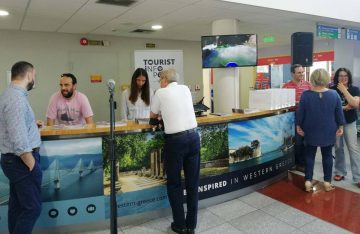 The tourism info-desk at the port of Patra. Photo Source: @Region of Western Greece.