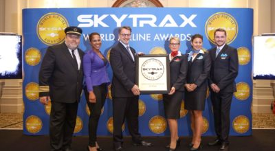 Jean-François Lemay, President-General Manager of Air Transat, accepted the Skytrax award at the official ceremony in London. Photo Source: Air Transat